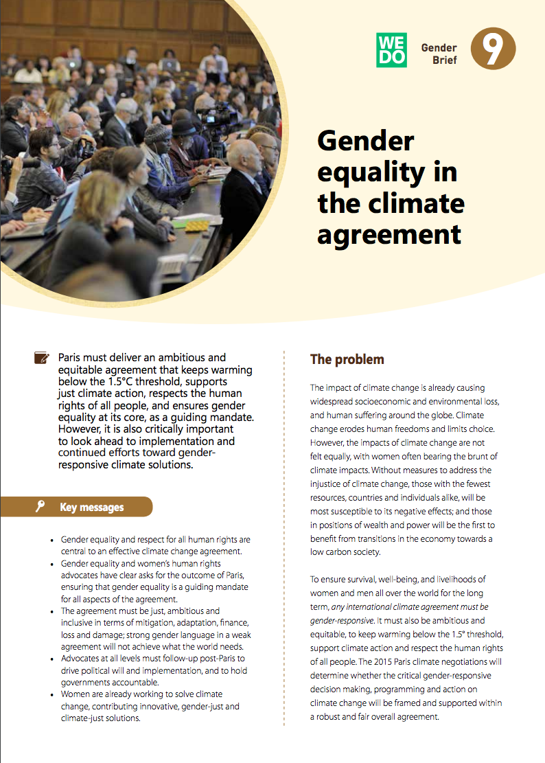 Gender equality in the climate agreement 2015 wedo platinumwayz