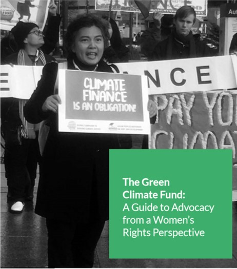 Title image of new report on GCF Advocacy from a Women's Rights Perspective